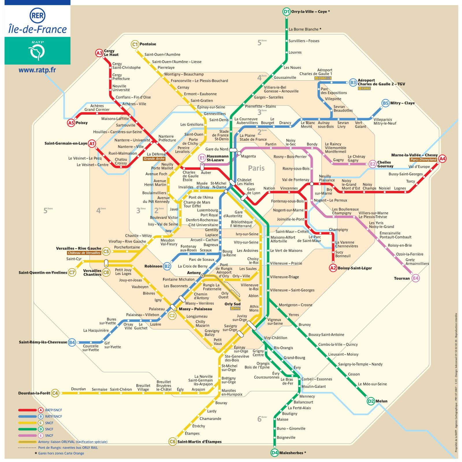 Карта RER в Париже