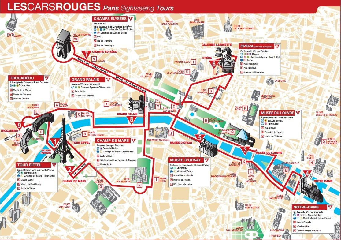 Маршрут экскурсии на автобусе Les Cars Rouges