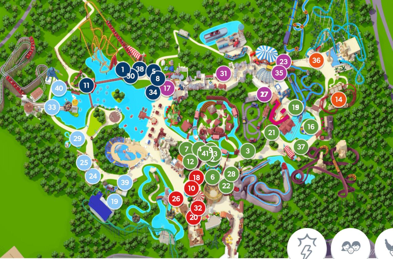 Подробная карта парка Астерикс