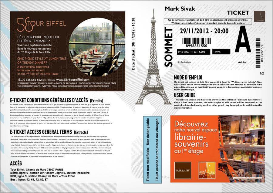 Билеты на Эйфелеву башню