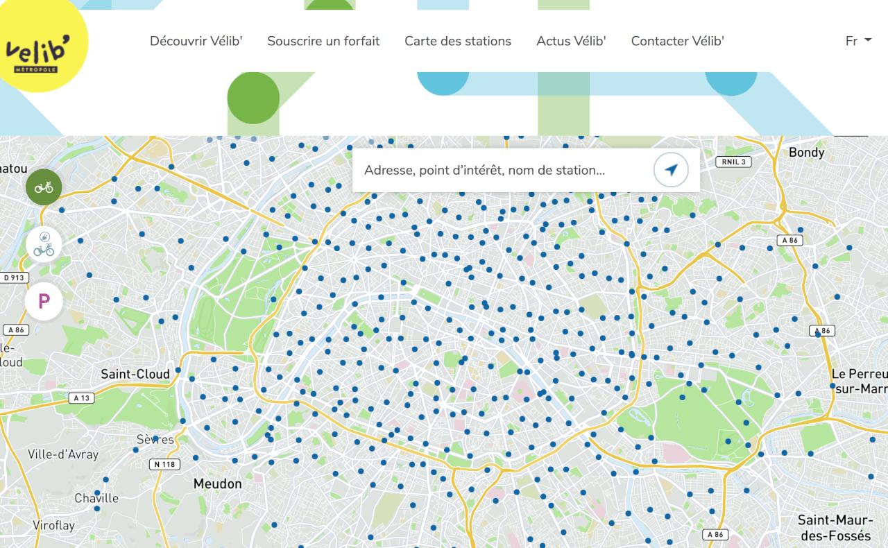Точки проката велосипедовVelib в Париже