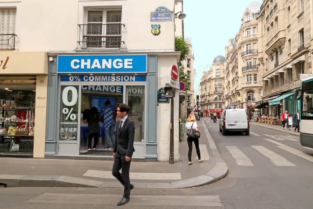 Комиссии в Париже на обмен валюты