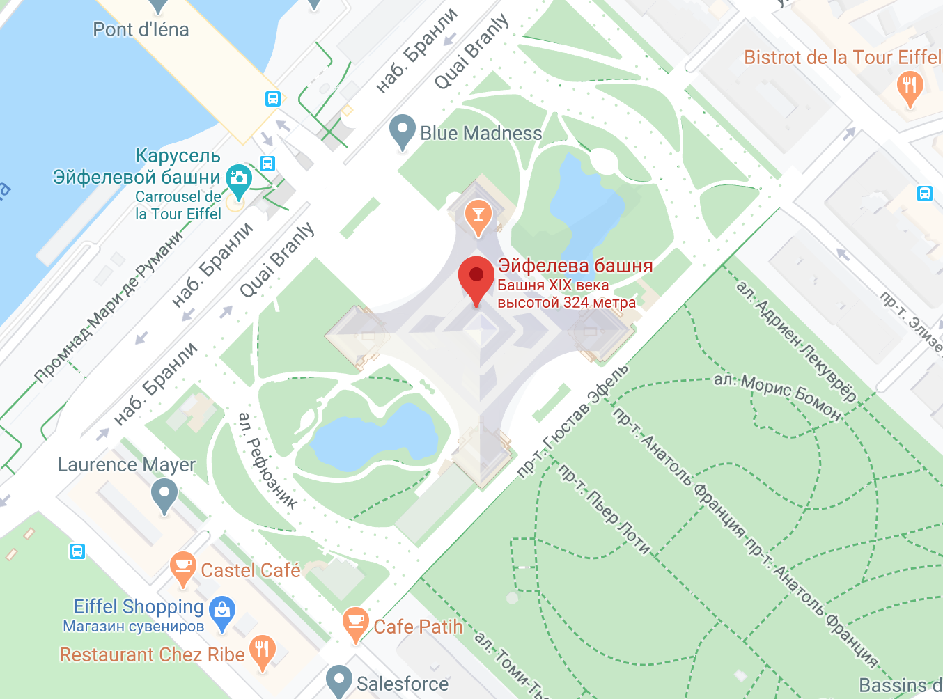 Адрес Эйфелевой башни в Париже